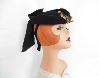 Vintage black tilt hat, 1940s WW2 era, woman's fascinator