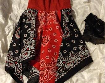 Red and black Bandana dress