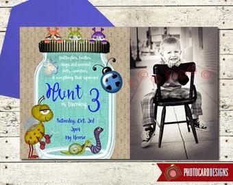 Bug Birthday Photo Invitation | Card | Digital | Mason jar | Burlap | Bug Invitation | Bug | Camping | Scavenger Hunt | Bug Birthday Party