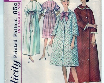 Vintage 1964 Simplicity 5726 Sewing Pattern Misses' Robe in Two Length Size 12 Bust 32