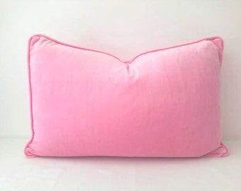 Lumbar Velvet Throw Pillow Cover, Baby Pink Velvet Cushion, Free Shipping