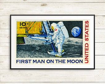 space gifts, man on the moon, space print, apollo program, geekery girl gifts, spaceship, outer space decor, astronaut, neil armstrong moon