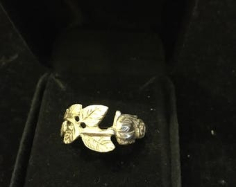 Silver floral spoon ring - Size M