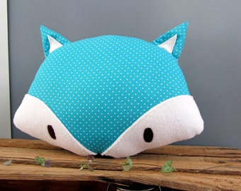 Fox turquoise polka dot decorative pillow