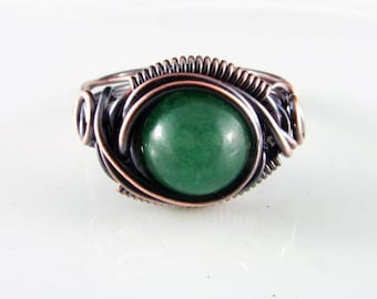 Wire Wrapped Ring Green Aventurine Ring Size 9 Copper Ring Dragons Eye Ring Wire Wrapped Jewelry Copper Jewelry Copper Wire Wrap