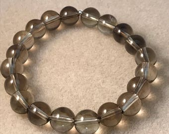 Smoky Lemon Quartz 10mm Round  Stretch Bead Bracelet with Sterling Silver Accent