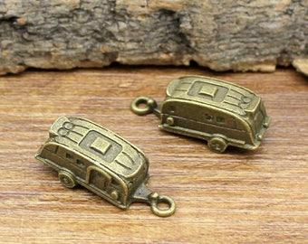 10pcs Camper Trailer charms, Antique Bronze Travel Trailers Charm pendants 27x10x10mm C2059-T