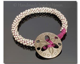 Sand Dollar, Rope Bracelet, Kumihimo Bracelet, Nautical Bracelet, Statement Bracelet, Gift For Wife, Gift For Girlfriend, Ocean Inspired