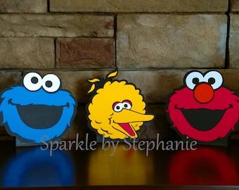 Elmo Centerpiece, Big Bird & Cookie Monster Centerpiece l Sesame Street Party Centerpiece l Sesame Street First Birthday Party l Set of 3