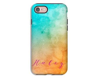 Personalized iPhone 8/8 Plus case, watercolor iPhone X case, iPhone 7/7 Plus case, iPhone 6s/6s Plus/6/6 Plus cases, tough iPhone cases