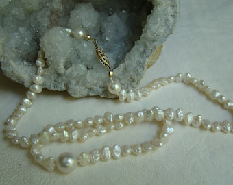 Freshwater and Saltwater Pearl Necklace with Gold Filled Findings