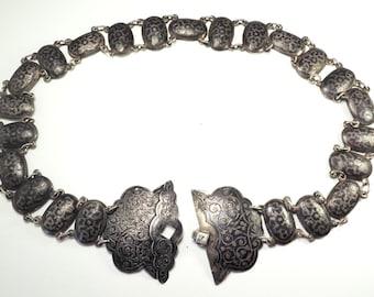 Antique Imeprial Russia Caucasian niello 84 silver belt