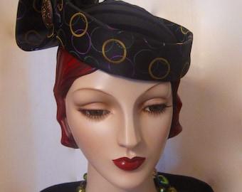 ON SALE/Wearable Art Headpiece with Czech GlassButton
