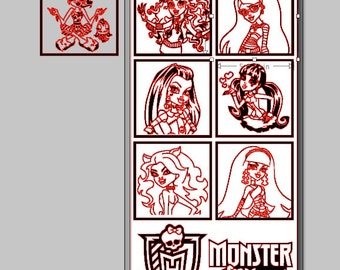 Monster High Character Cameo Silhouette File With Cleo De Nile, Lagoona Blue, Ghoulia, Clawdeen Wolf, Frankie Stein, and Draculaura