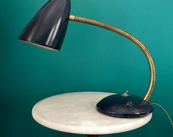 Vintage Midcentury Modern Flexible Gooseneck Lamp Table Desk Bullet Cone Shade SALE
