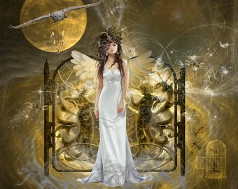 Dreamkeeper,ethereal art,photo artistry,compilation,fantasy artwork,owl,dreamcatcher,angelic figure,dreamland,magical,gift art