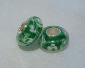 Clear emerald green floral 925 silver core glass beads