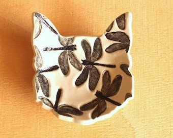 Ceramic DRAGONFLIES Ring Dish - Handmade Porcelain B&W Dragonflies CAT Ring Dish / Tea Bag Holder - Ready To Ship