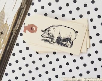 Pig Tag - 10 pig manila gift tags -  Pig Hand stamped tag - Mini Manila Tag - Farmhouse gift tag - Hand stamped tag - Pretty Packaging - Tag