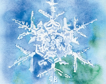 Snowflake Watercolor Painting Giclee Print 8 x 10 (8.5 x 11)
