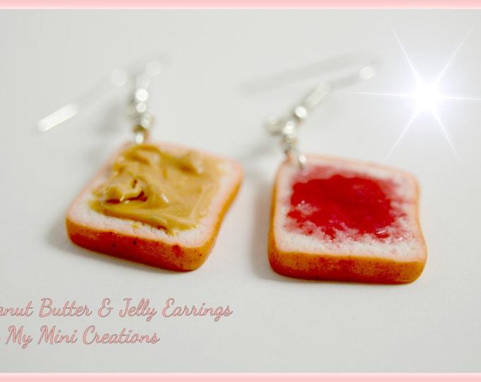 Peanut Butter & Jelly Earrings, Miniature Food, Miniature Food Jewelry, Food Jewelry