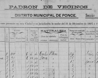 Census of Capitanejo in Ponce, Puerto Rico c.1897