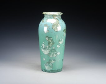 Ceramic Vase - Green - Crystalline Glaze on High-Fired Porcelain - Hand-Made Pottery - SHIPPING INCLUDED  - #E-5056