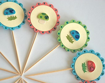 Jewel Shroom Cupcake Toppers