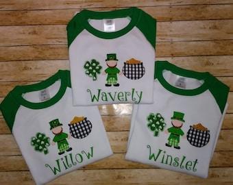 Girls Leprechaun St. Patrick's Day Shirt, Shamrock St. Patrick's Day Shirt, Girls St. Patricks Day Shirt, Girls Monogrammed Shirt