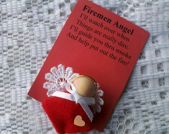 Firemen Angel Red and White Pin/Brooch Hand Crafted