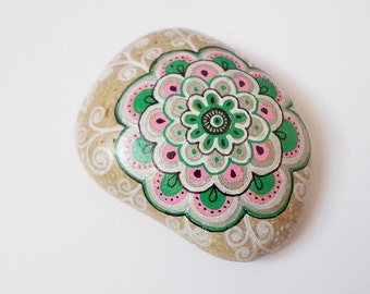 Handpainted Mandala Stone Art, Office Yoga gift, Boho Yoga room decor, Rock Pebble Art, Meditation OOAK Spiritual zen art, Christmas gift