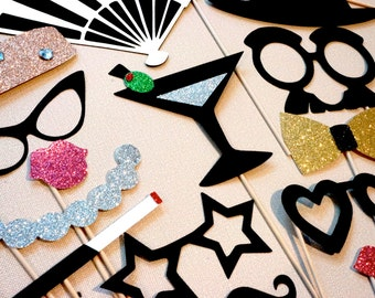 Vintage Hollywood Collection Photo Booth Prop Set - 17 piece prop set - Birthdays, Weddings, Parties - Glamorous GLITTER Photobooth Props
