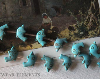 Clearance, Dolphin Stone Beads, Sold Per 9, Tribal Style, Blue Turquoise Beads, Stone Bead, 15x20 Dolphin Beads, Fish, ArtWear Elements