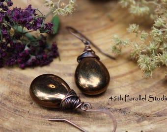 Bronze Teardrop Earrings, Rustic Earrings, Fall Earrings, Autumn Jewelry, Czech Glass Earrings, Earthy Earrings, Neutral Earrings, Bronze