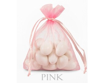 10 Pink Organza Bags, 6 x 9 Inch Sheer Fabric Favor and Gift Bags