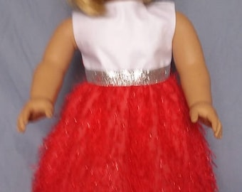 Red & White fuzzy party dress
