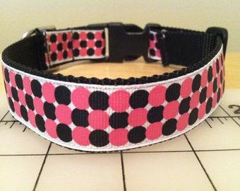 Large Pink and Black Polka Dot Large Dog Collar