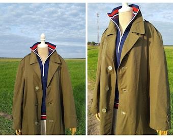 Vintage Trench Coat, Military Jacket, Khaki Green canvas Military Parka Coat Jacket 1970s, Long Belted Coat, 90s Khaki Rain Coat Size Large