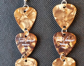 Guitar-Pick Earrings (Tone Warrior Amber, Triple Picks)