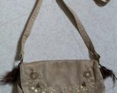 Shoulder bag beige with f...