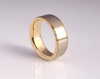 Gold Sleeve Wedding Band Handmade from Recycled Gold, 2 Tone Wedding Ring, Modern Wedding Band