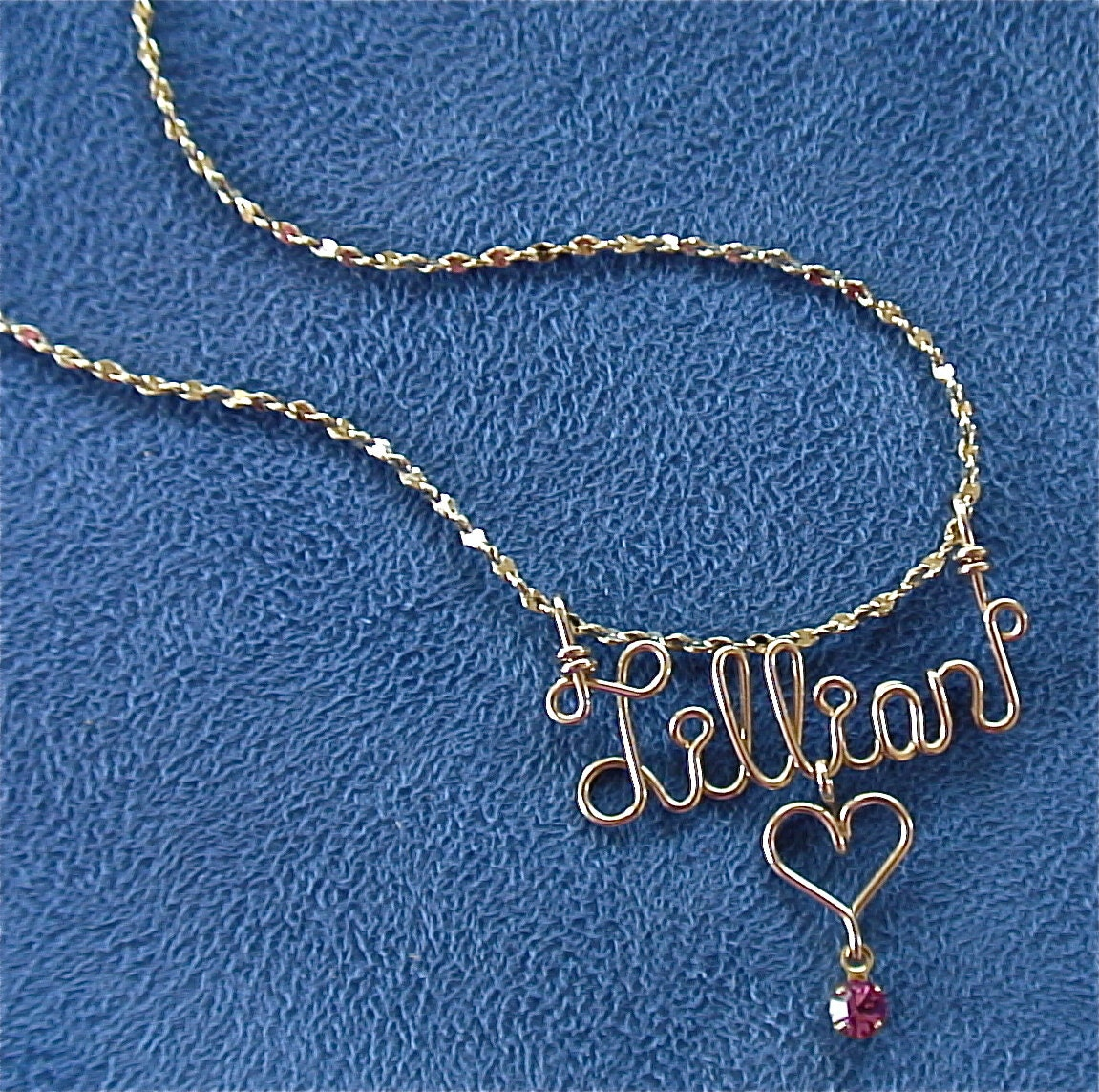 Personalized Jewelry Gold Wire Name Necklace w/Heart Cross