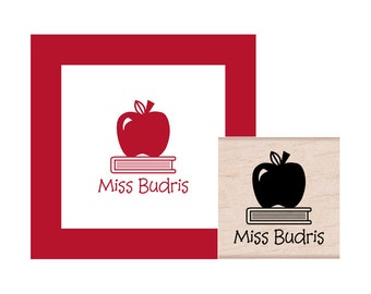 Book with Apple Teacher Personalized Rubber Stamp
