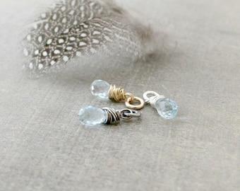Blue Topaz Charm, December Birthstone Charm, Blue Topaz Pendant, Wire Wrapped Charm, Add A Dangle Charm Only, Petite Pendant, Gemstone Charm