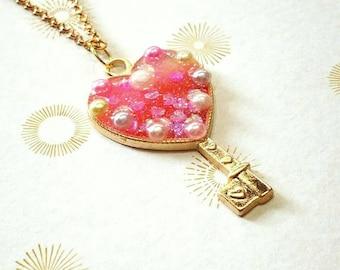 Valentines Day, Heart Pendant, Lolita Jewelry, Heart Necklace, Iridescent Necklace, Fairy Kei Jewelry, Kawaii Necklace, Key Jewelry