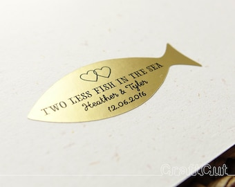 Fish stickers Two less fish in the sea Custom text labels Gold fish stickers Wedding invitation seal Personalized fish labels