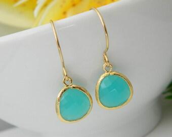 Personalized Aqua Earrings, Sister Earrings, Blue Glass Earrings, Dangle Earrings, Mother Jewelry, Birthday Gift, Christmas Gift