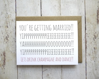 Funny engagement card // Wedding card // You're getting married // Friend's wedding // Friend's engagement // Engagement congratulations //