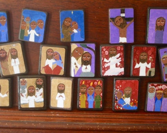 """Full set of 20 Mysteries of the Rosary in Byzantine/ Folk Style on 2.5"""" X3.5"""" ish wood by DL Sayles"""