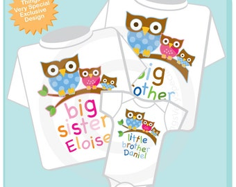 Set of Three Big Brother Owl Shirt, Big Sister Owl Shirt, and Little Brother Shirt Set Personalized Owl Tee Shirt or Onesie (06032012d)
